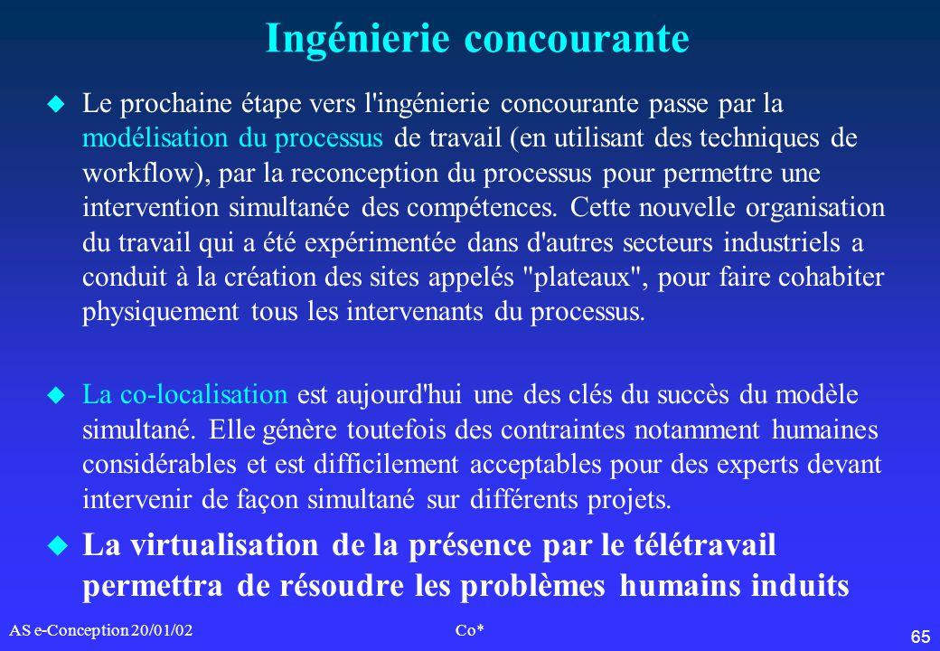 65 AS e-Conception 20/01/02Co* Ingénierie concourante u Le prochaine étape vers l'ingénierie concourante passe par la modélisation du processus de tra
