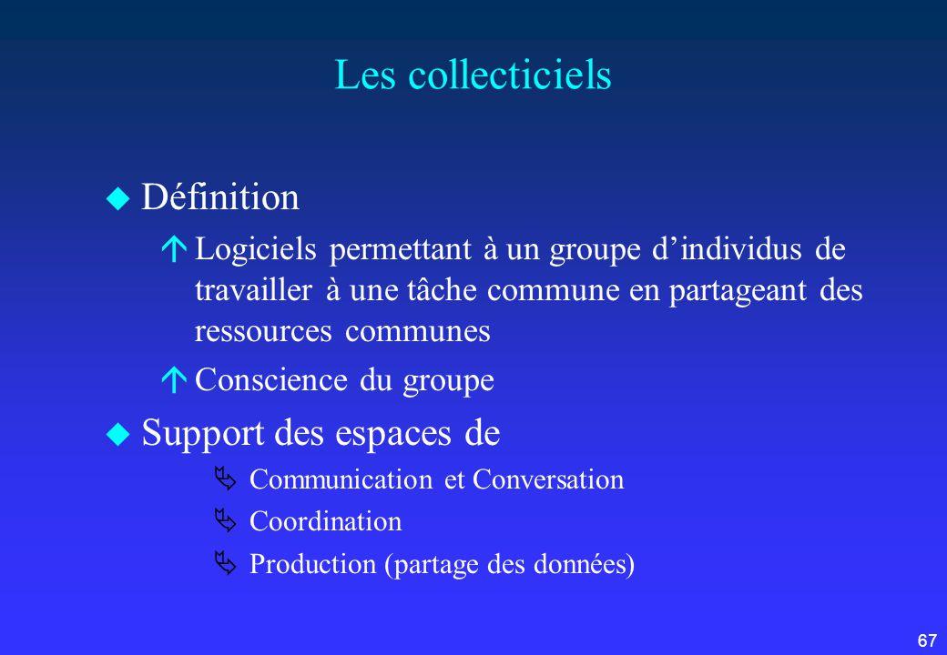 67 Les collecticiels u Définition áLogiciels permettant à un groupe dindividus de travailler à une tâche commune en partageant des ressources communes