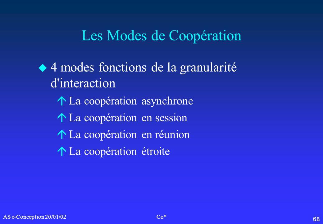 68 AS e-Conception 20/01/02Co* Les Modes de Coopération u 4 modes fonctions de la granularité d'interaction áLa coopération asynchrone áLa coopération