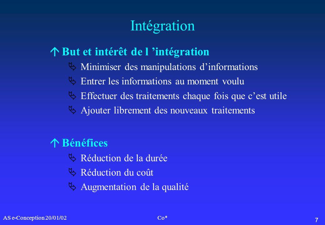 7 AS e-Conception 20/01/02Co* Intégration áBut et intérêt de l intégration Minimiser des manipulations dinformations Entrer les informations au moment
