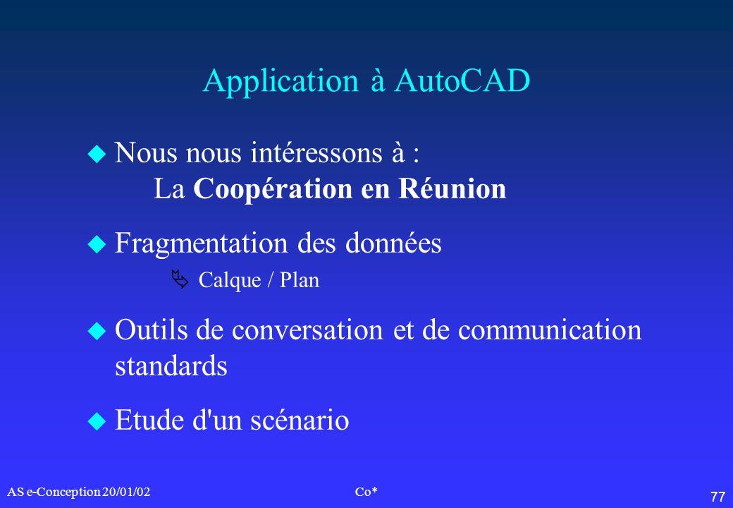 77 AS e-Conception 20/01/02Co* Application à AutoCAD u Nous nous intéressons à : La Coopération en Réunion u Fragmentation des données Calque / Plan u