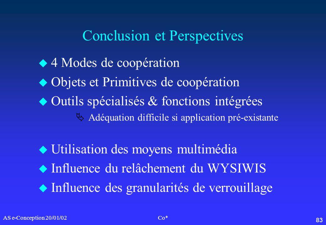 83 AS e-Conception 20/01/02Co* Conclusion et Perspectives u 4 Modes de coopération u Objets et Primitives de coopération u Outils spécialisés & foncti