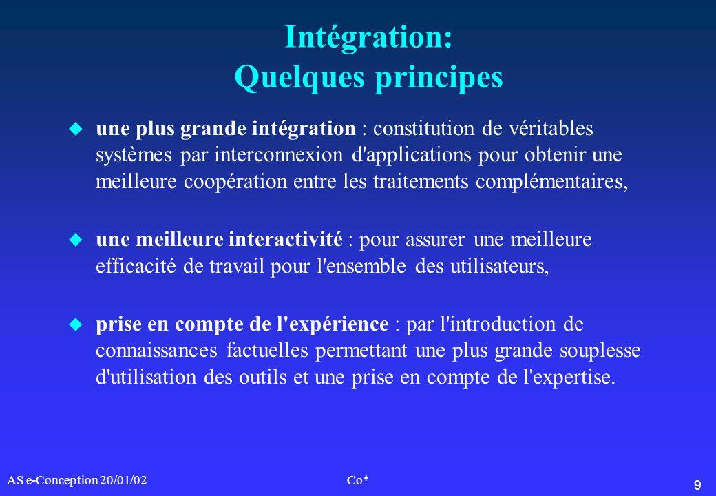 9 AS e-Conception 20/01/02Co* Intégration: Quelques principes u une plus grande intégration : constitution de véritables systèmes par interconnexion d