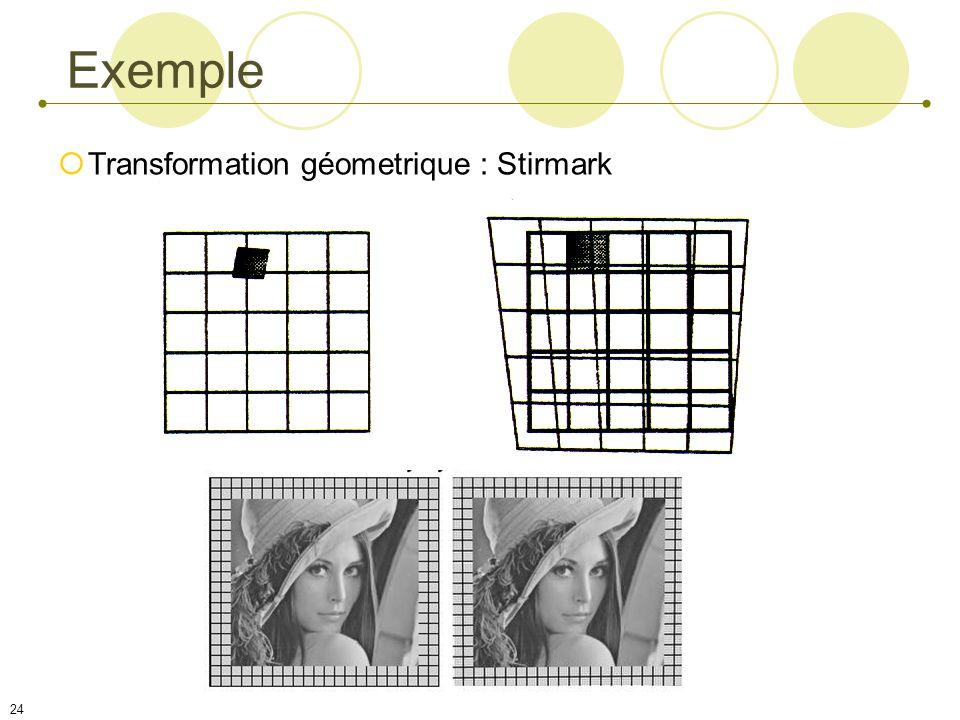 23 Attaques géométriques Attaques par moyennage Attaques par débruitage, isolement Attaques par analyse du comportement du détecteur Attaques(2)