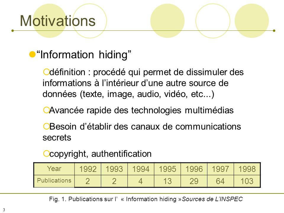 2 Plan Information Hidind Motivations Classification Définitions Steganographie Histoire Linguistic vs Technical Exemple Tatouage Enjeux Théorie 2 nd Génération Conclusion