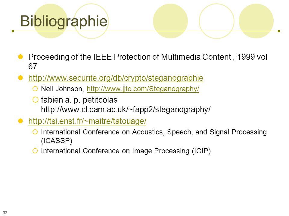 31 Conclusion Pour la suite ? Besoin de standardisation Domaine très vaste : audio, image, vidéo (Fileystems...) Beaucoup de techniques (algorithmes)