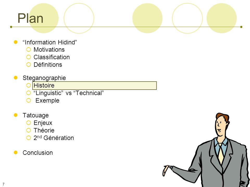 7 Plan Information Hidind Motivations Classification Définitions Steganographie Histoire Linguistic vs Technical Exemple Tatouage Enjeux Théorie 2 nd Génération Conclusion