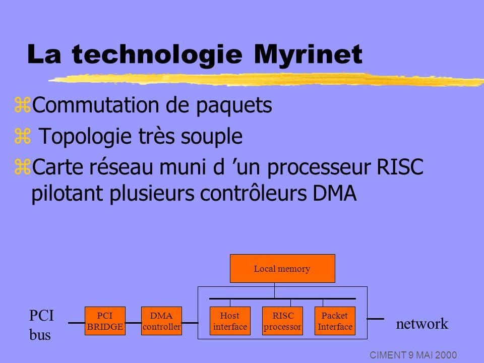 CIMENT 9 MAI 2000 La technologie Myrinet zCommutation de paquets z Topologie très souple zCarte réseau muni d un processeur RISC pilotant plusieurs co
