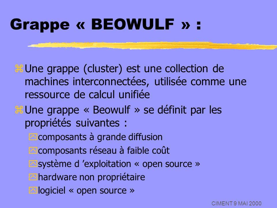 CIMENT 9 MAI 2000 Grappe « BEOWULF » : zUne grappe (cluster) est une collection de machines interconnectées, utilisée comme une ressource de calcul un