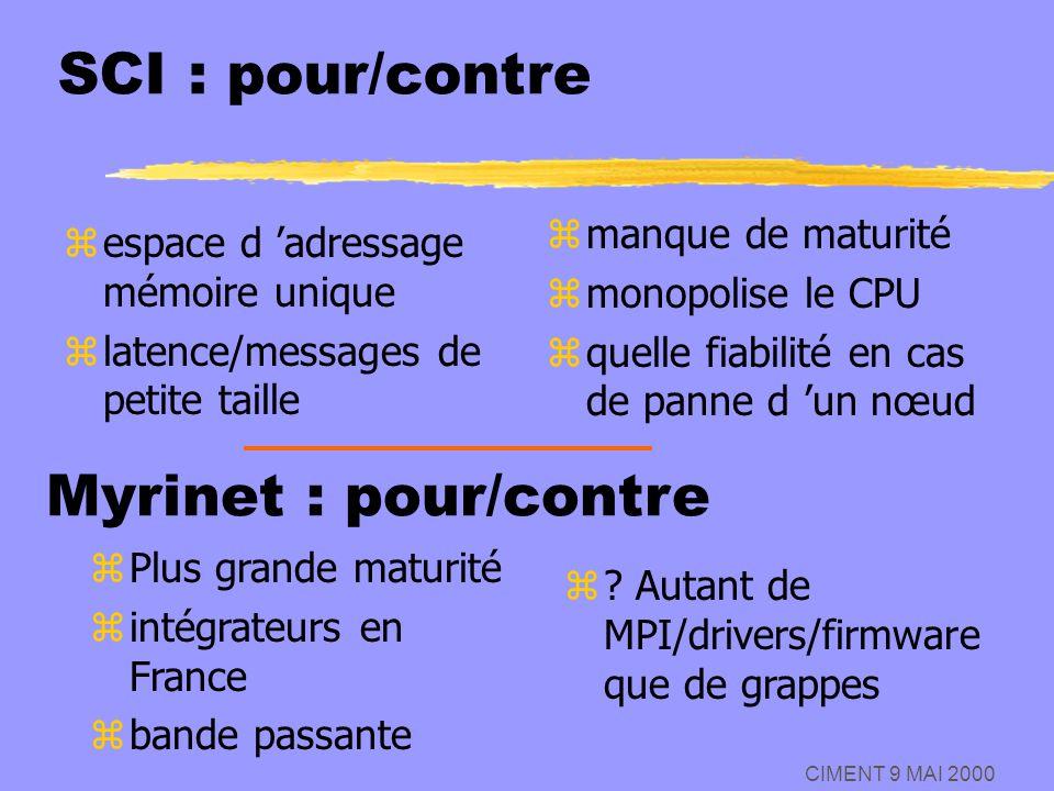 CIMENT 9 MAI 2000 SCI : pour/contre zespace d adressage mémoire unique zlatence/messages de petite taille z manque de maturité z monopolise le CPU z q