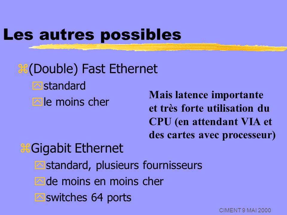 CIMENT 9 MAI 2000 Les autres possibles z(Double) Fast Ethernet ystandard yle moins cher Mais latence importante et très forte utilisation du CPU (en a