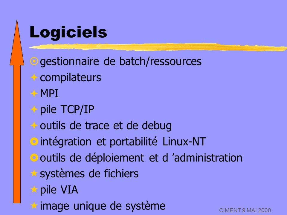 CIMENT 9 MAI 2000 Logiciels ¤gestionnaire de batch/ressources ªcompilateurs ªMPI ªpile TCP/IP ªoutils de trace et de debug £intégration et portabilité