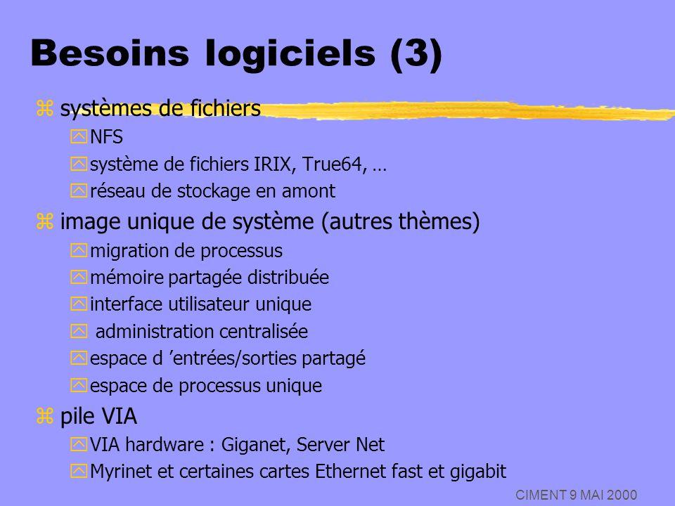 CIMENT 9 MAI 2000 Besoins logiciels (3) zsystèmes de fichiers yNFS ysystème de fichiers IRIX, True64, … yréseau de stockage en amont zimage unique de