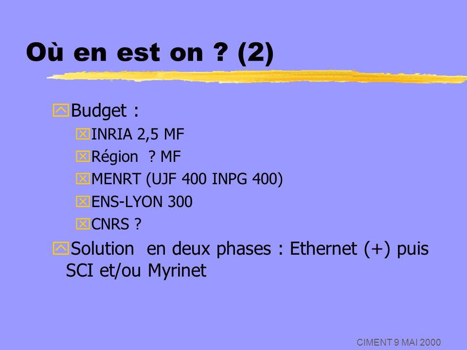 CIMENT 9 MAI 2000 Où en est on ? (2) yBudget : xINRIA 2,5 MF xRégion ? MF xMENRT (UJF 400 INPG 400) xENS-LYON 300 xCNRS ? ySolution en deux phases : E
