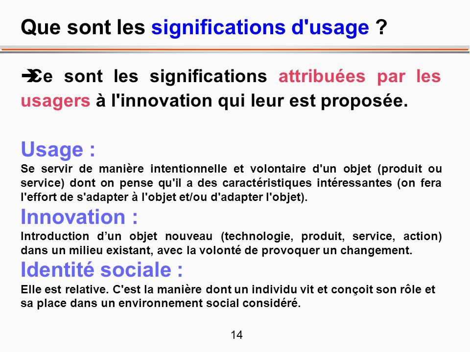 14 Que sont les significations d'usage ? Ce sont les significations attribuées par les usagers à l'innovation qui leur est proposée. Usage : Se servir