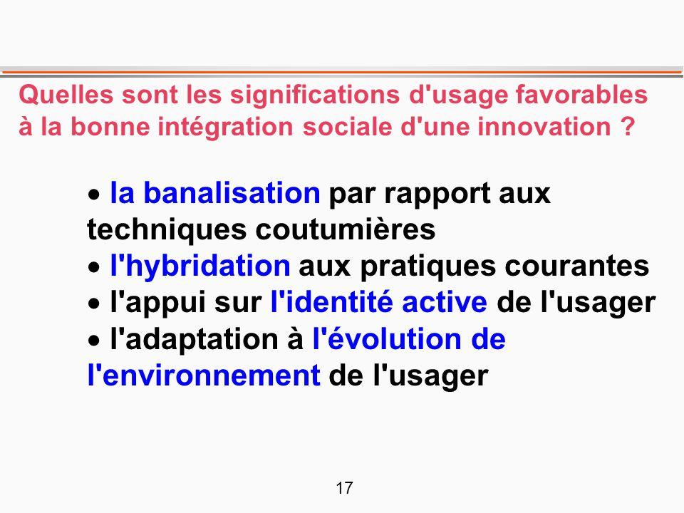 17 Quelles sont les significations d'usage favorables à la bonne intégration sociale d'une innovation ? la banalisation par rapport aux techniques cou