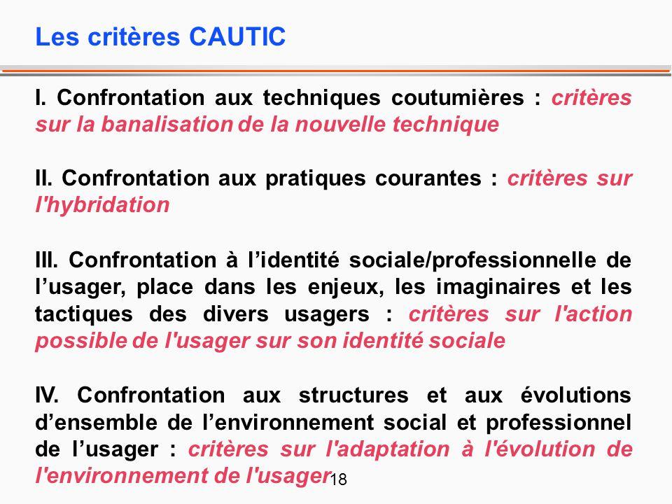 18 Les critères CAUTIC I. Confrontation aux techniques coutumières : critères sur la banalisation de la nouvelle technique II. Confrontation aux prati
