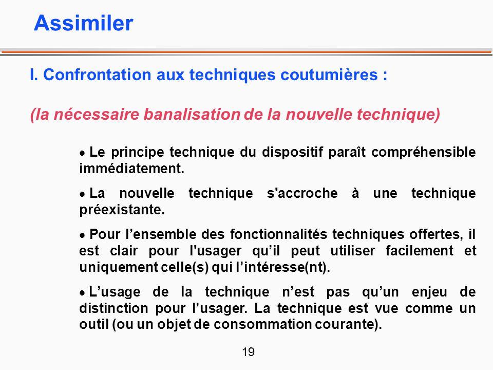 19 I. Confrontation aux techniques coutumières : (la nécessaire banalisation de la nouvelle technique) Le principe technique du dispositif paraît comp