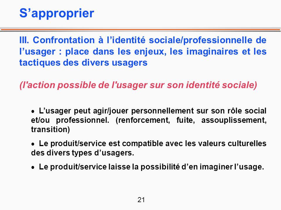 21 III. Confrontation à lidentité sociale/professionnelle de lusager : place dans les enjeux, les imaginaires et les tactiques des divers usagers (l'a