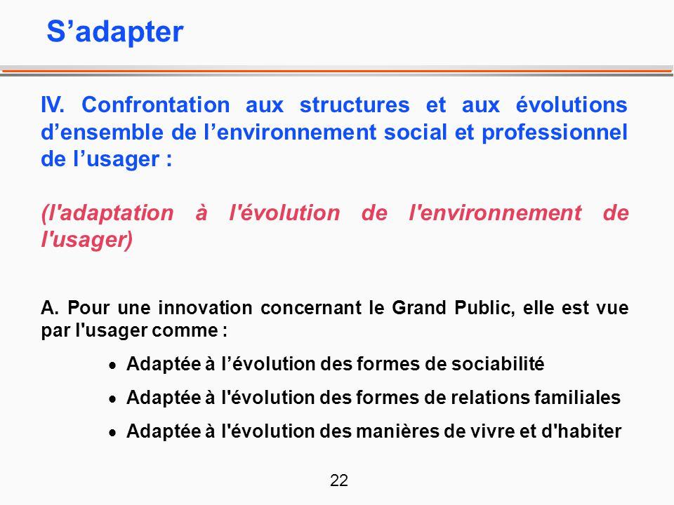 22 IV. Confrontation aux structures et aux évolutions densemble de lenvironnement social et professionnel de lusager : (l'adaptation à l'évolution de