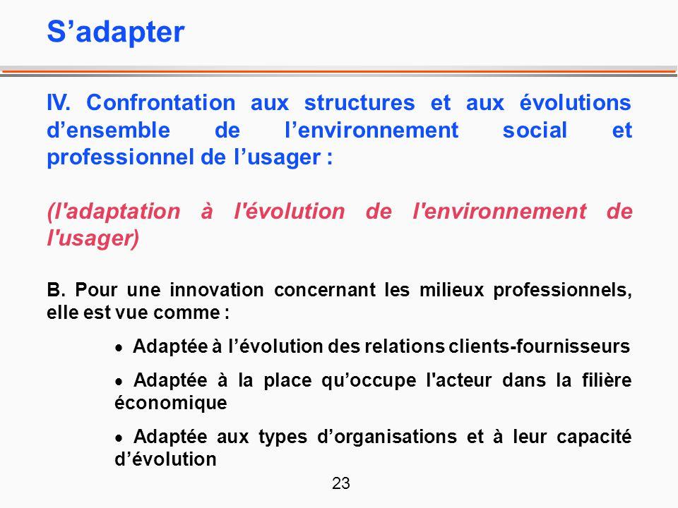 23 IV. Confrontation aux structures et aux évolutions densemble de lenvironnement social et professionnel de lusager : (l'adaptation à l'évolution de