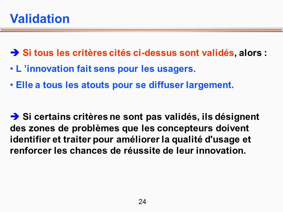 24 Validation Si tous les critères cités ci-dessus sont validés, alors : L innovation fait sens pour les usagers. Elle a tous les atouts pour se diffu