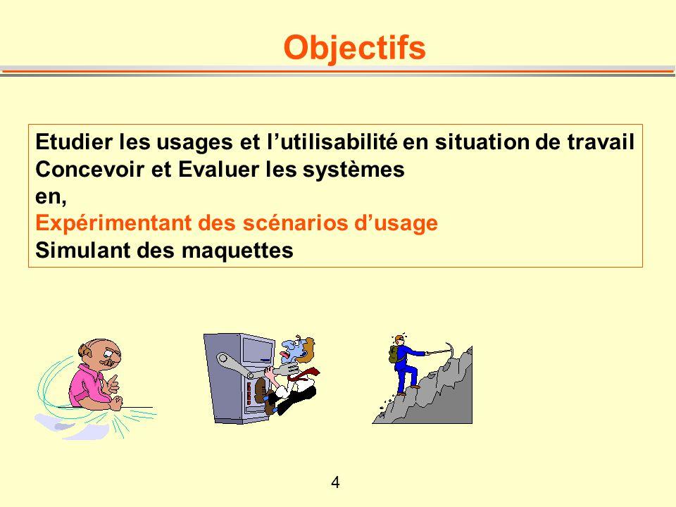 4 Objectifs Etudier les usages et lutilisabilité en situation de travail Concevoir et Evaluer les systèmes en, Expérimentant des scénarios dusage Simu