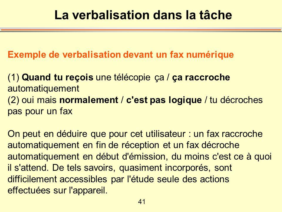 41 La verbalisation dans la tâche Exemple de verbalisation devant un fax numérique (1) Quand tu reçois une télécopie ça / ça raccroche automatiquement