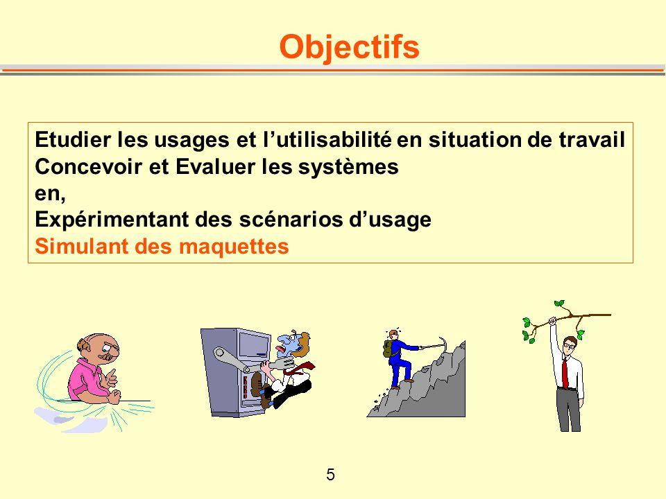 5 Objectifs Etudier les usages et lutilisabilité en situation de travail Concevoir et Evaluer les systèmes en, Expérimentant des scénarios dusage Simu