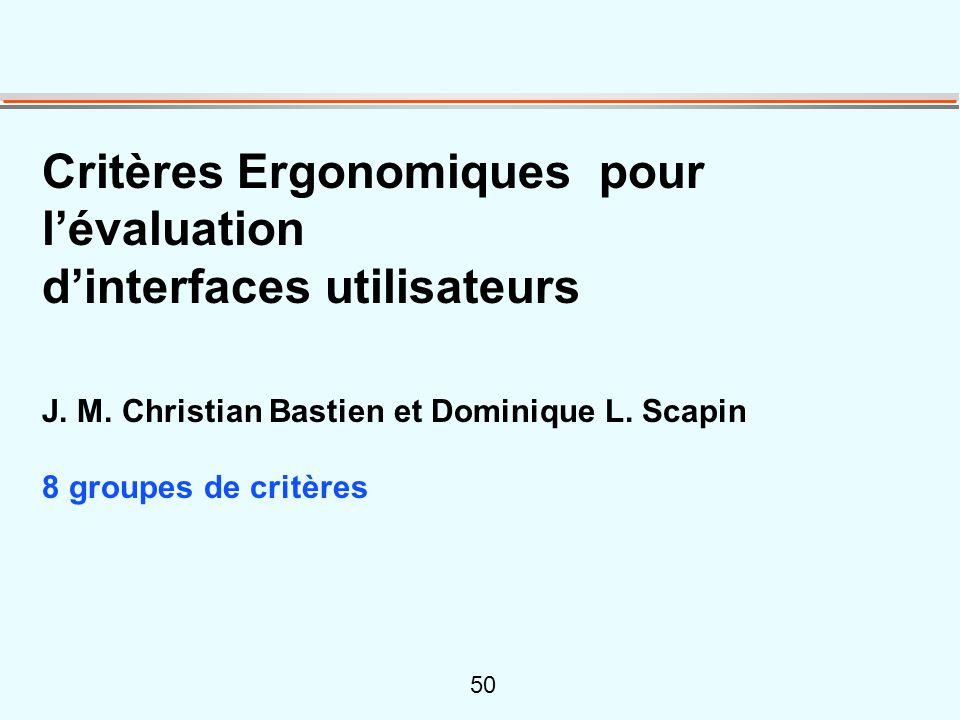 50 Critères Ergonomiques pour lévaluation dinterfaces utilisateurs J. M. Christian Bastien et Dominique L. Scapin 8 groupes de critères