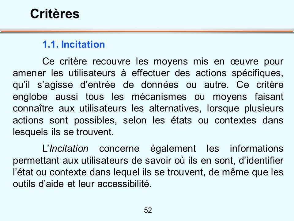 52 1.1. Incitation Ce critère recouvre les moyens mis en œuvre pour amener les utilisateurs à effectuer des actions spécifiques, quil sagisse dentrée