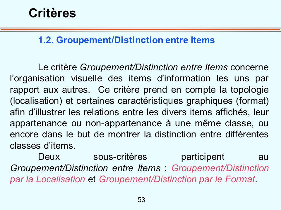 53 1.2. Groupement/Distinction entre Items Le critère Groupement/Distinction entre Items concerne lorganisation visuelle des items dinformation les un