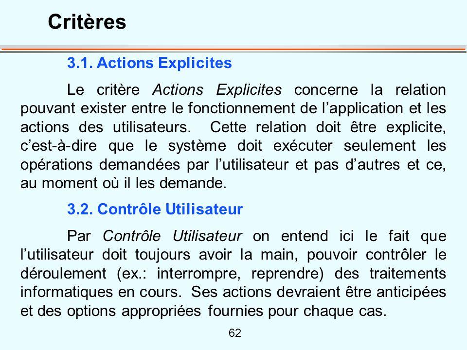 62 3.1. Actions Explicites Le critère Actions Explicites concerne la relation pouvant exister entre le fonctionnement de lapplication et les actions d