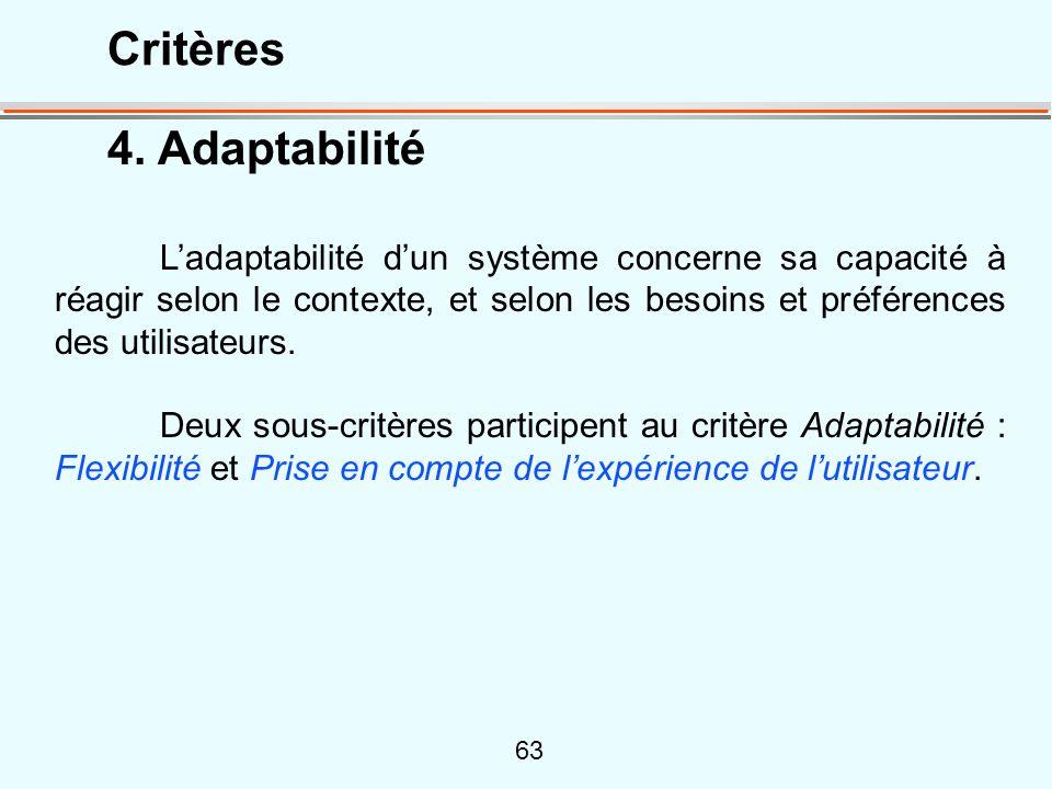 63 4. Adaptabilité Ladaptabilité dun système concerne sa capacité à réagir selon le contexte, et selon les besoins et préférences des utilisateurs. De