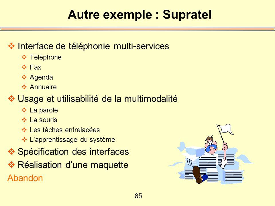 85 Autre exemple : Supratel Interface de téléphonie multi-services Téléphone Fax Agenda Annuaire Usage et utilisabilité de la multimodalité La parole