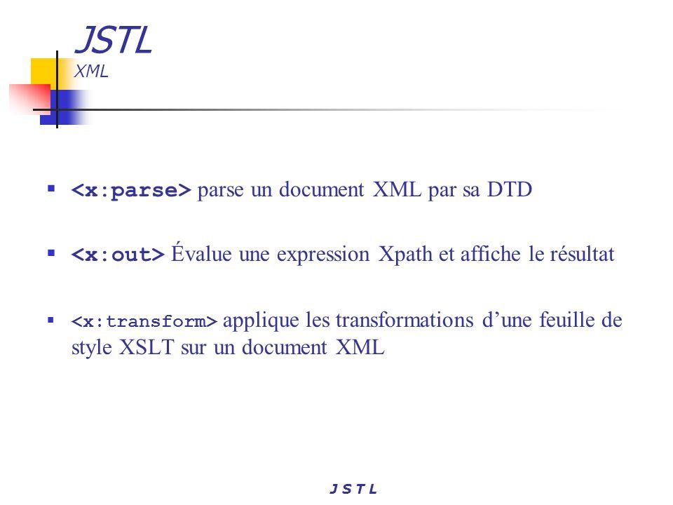 J S T L JSTL XML parse un document XML par sa DTD Évalue une expression Xpath et affiche le résultat applique les transformations dune feuille de styl