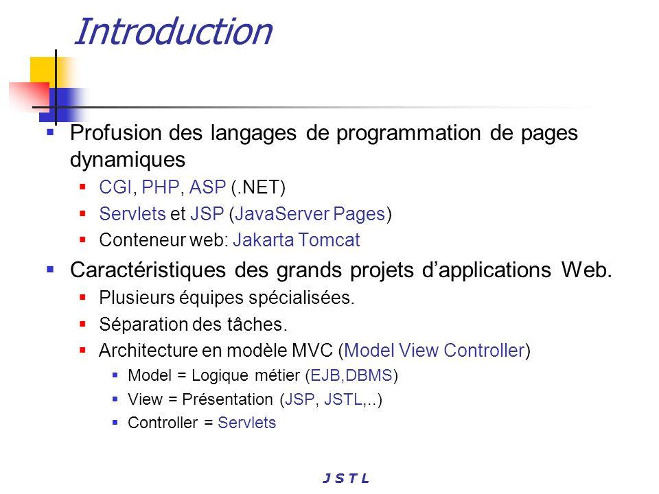 J S T L Introduction Profusion des langages de programmation de pages dynamiques CGI, PHP, ASP (.NET) Servlets et JSP (JavaServer Pages) Conteneur web