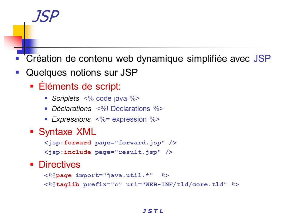 J S T L JSP Création de contenu web dynamique simplifiée avec JSP Quelques notions sur JSP Éléments de script: Scriplets Déclarations Expressions Synt