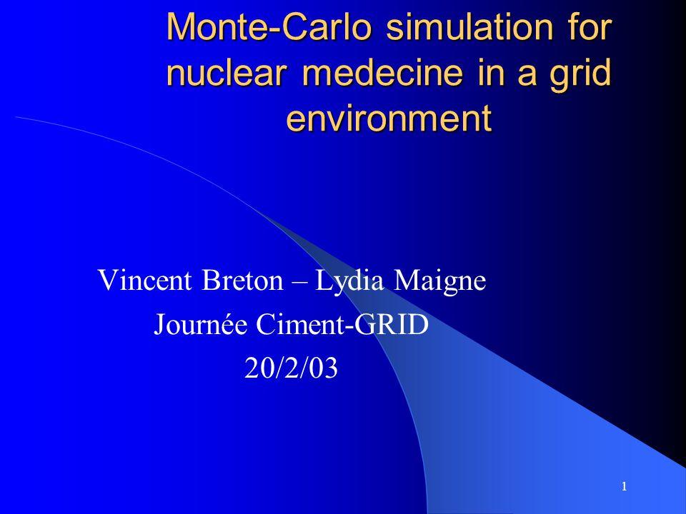 1 Monte-Carlo simulation for nuclear medecine in a grid environment Vincent Breton – Lydia Maigne Journée Ciment-GRID 20/2/03
