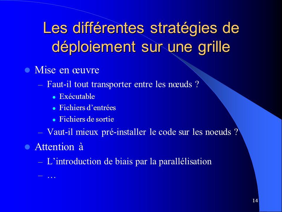 14 Les différentes stratégies de déploiement sur une grille Mise en œuvre – Faut-il tout transporter entre les nœuds .