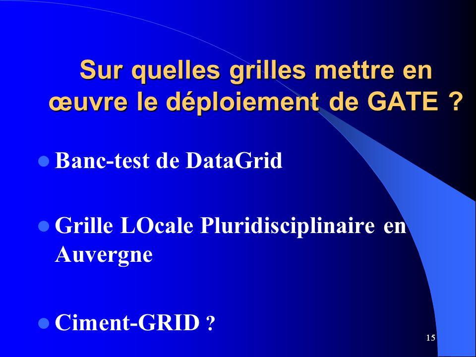 15 Sur quelles grilles mettre en œuvre le déploiement de GATE .