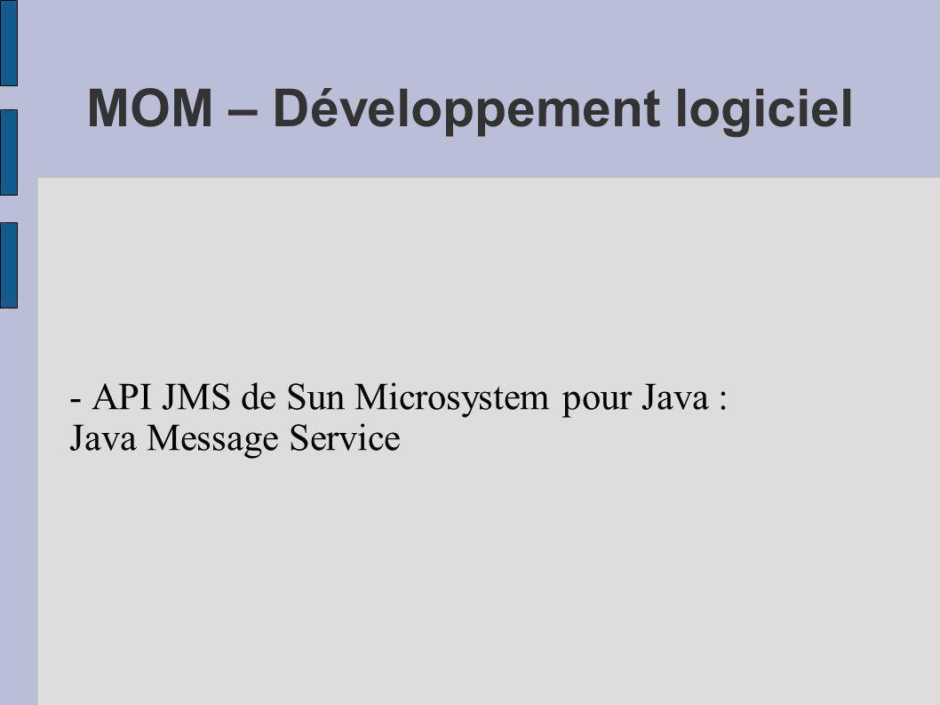 MOM – Développement logiciel - API JMS de Sun Microsystem pour Java : Java Message Service