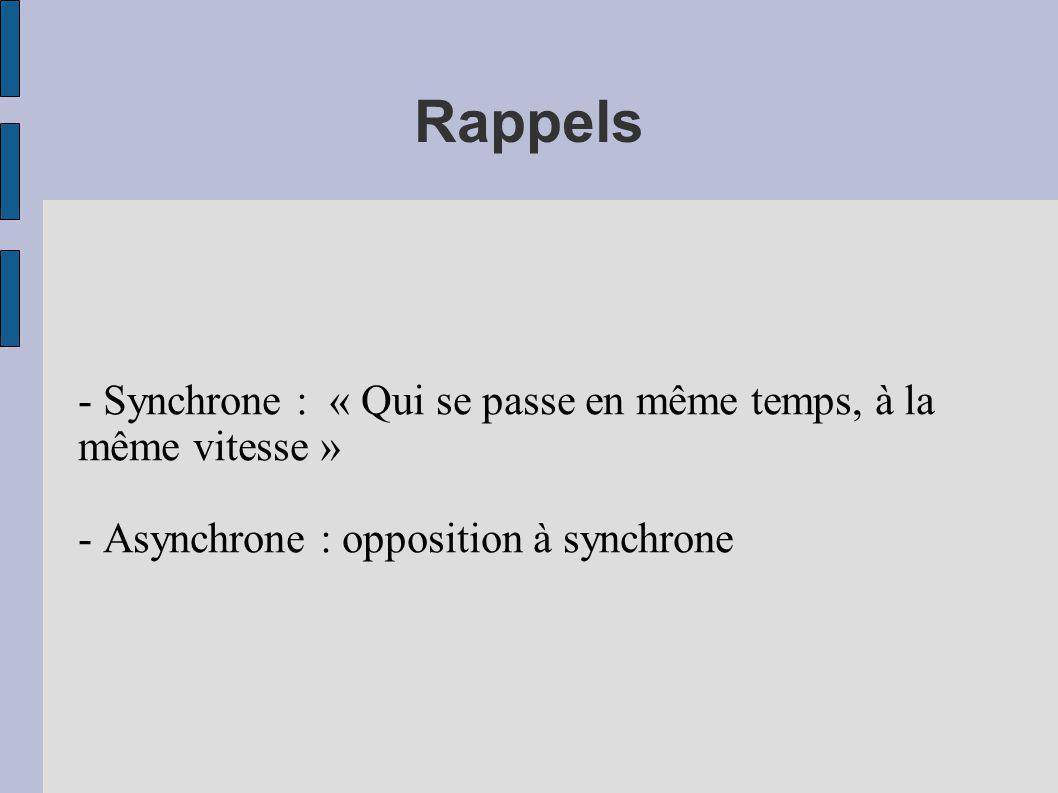 Rappels - Synchrone : « Qui se passe en même temps, à la même vitesse » - Asynchrone : opposition à synchrone