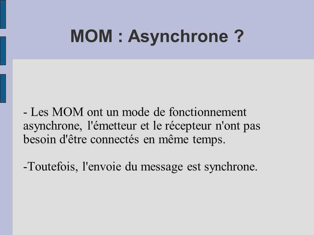 MOM : Asynchrone ? - Les MOM ont un mode de fonctionnement asynchrone, l'émetteur et le récepteur n'ont pas besoin d'être connectés en même temps. -To