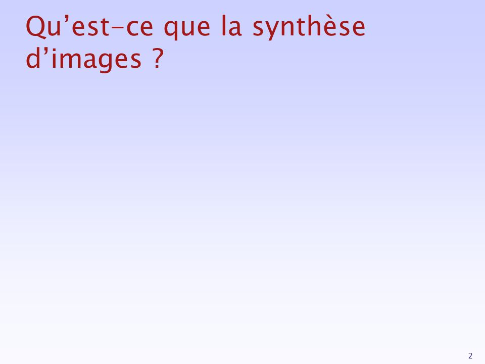 33 Système de coordonnées Object space World space Eye Space / Camera Space Screen Space Clip Space (NDC) Modeling Transformations Illumination (Shading) Viewing Transformation (Perspective / Orthographic) Clipping Projection (to Screen Space) Scan Conversion (Rasterization) Visibility / Display