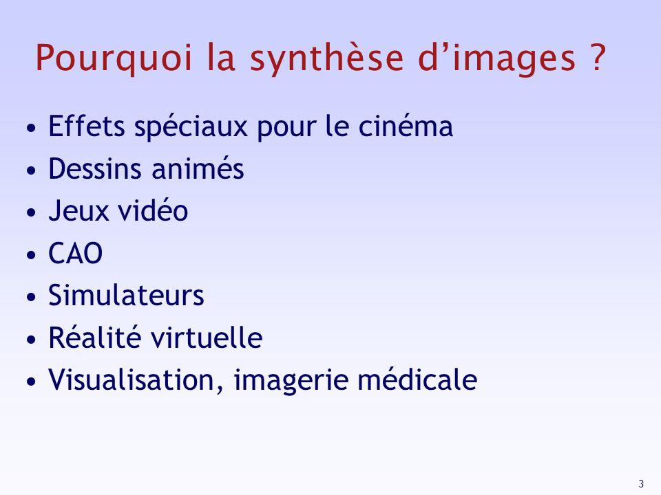 44 Projections Utilisées en synthèse et en vision (modèles de caméras) Deux grandes familles :