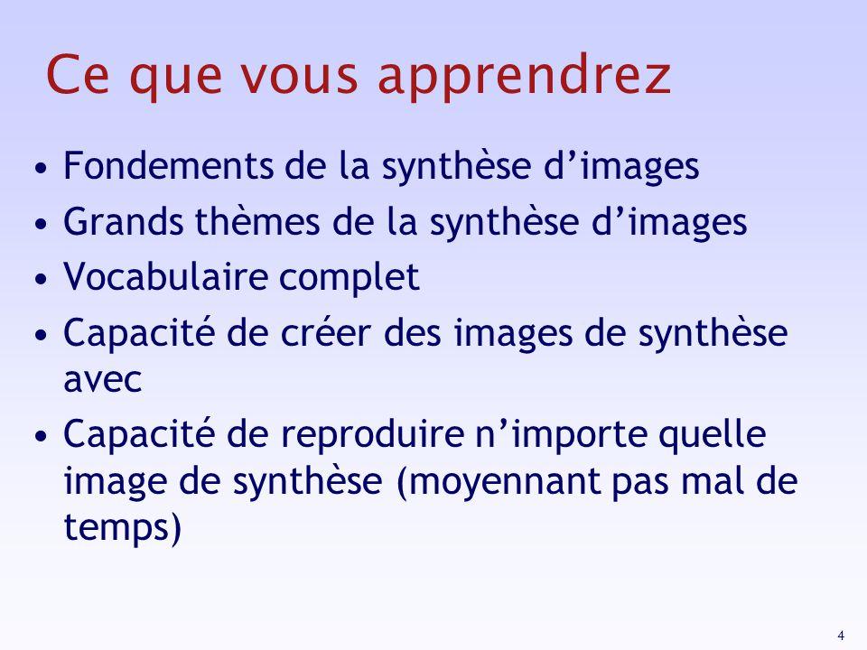 5 Ce que vous napprendrez pas Les détails Lutilisation de logiciel de synthèse dimages (Catia, 3DS, Maya, Photoshop) La conception artistique