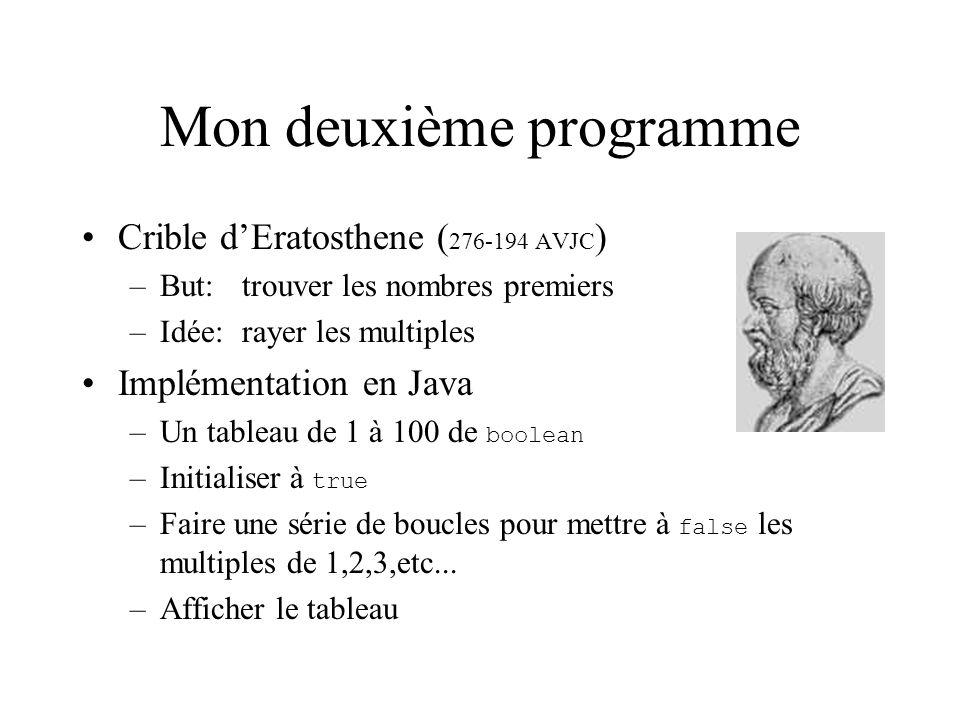 Mon deuxième programme Crible dEratosthene ( 276-194 AVJC ) –But:trouver les nombres premiers –Idée:rayer les multiples Implémentation en Java –Un tableau de 1 à 100 de boolean –Initialiser à true –Faire une série de boucles pour mettre à false les multiples de 1,2,3,etc...