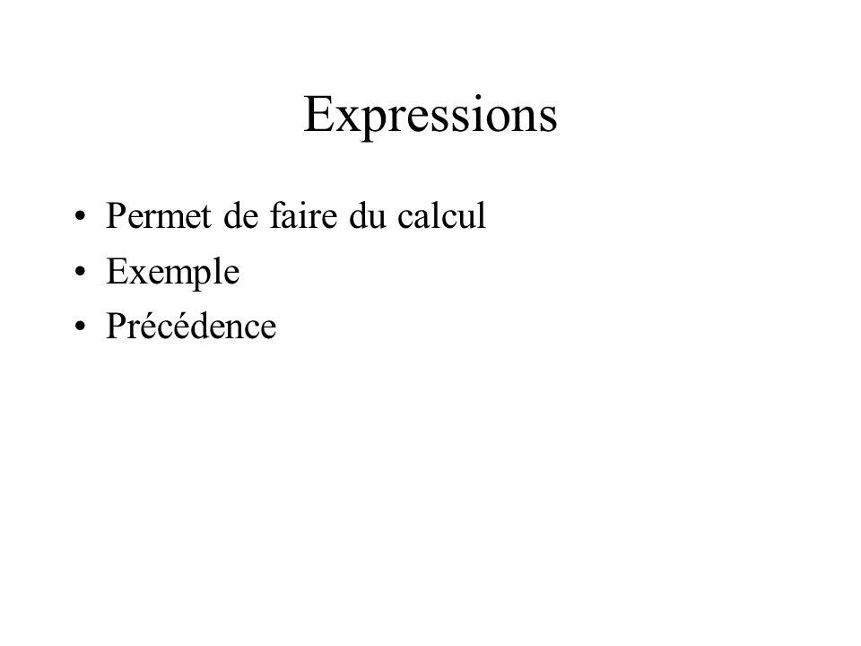 Expressions Permet de faire du calcul Exemple Précédence