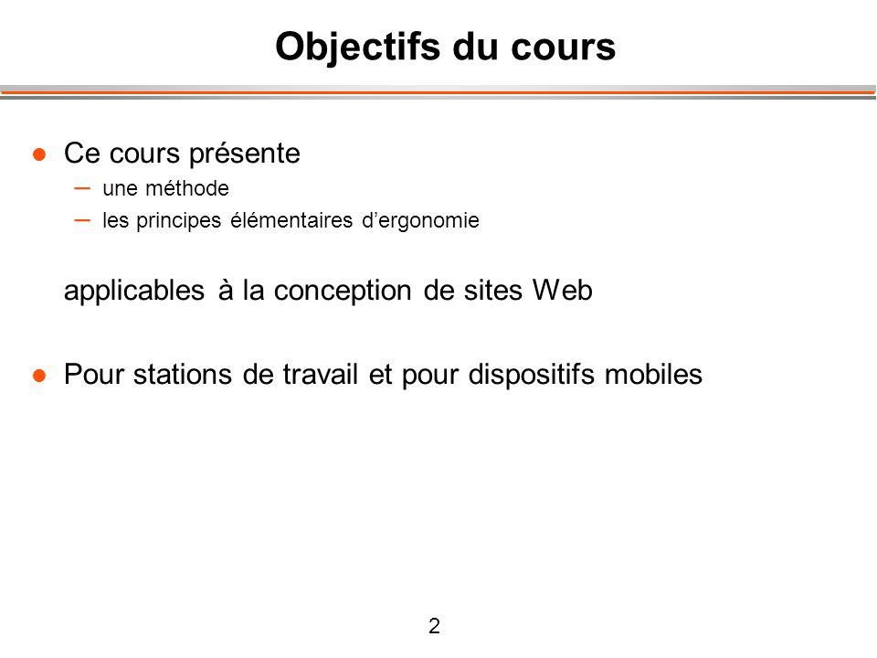 2 Objectifs du cours Ce cours présente – une méthode – les principes élémentaires dergonomie applicables à la conception de sites Web Pour stations de